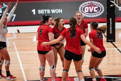 Austin Peay Women's Volleyball use third set comeback to propel team to four set win over UT Martin at the Dunn Center, Saturday. (APSU Sports Information)