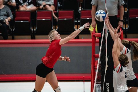 Austin Peay Women's Volleyball sophomore outside hitter Chloe Stitt had 15 kills in loss to Murray State at the Dunn Center Wednesday night. (APSU Sports Information)
