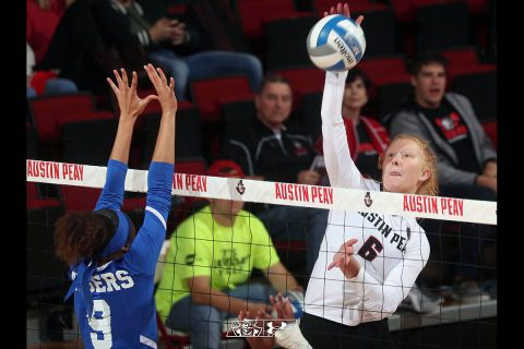 Austin Peay State University Volleyball freshman Tegan Seyring posts career-best 15 kills in loss to Tennessee Tech, Friday. (APSU Sports Information)
