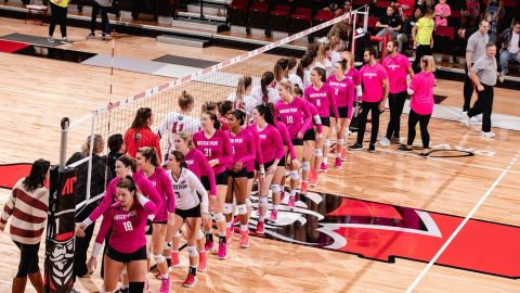 Austin Peay State University Volleyball plays OVC leader Jacksonville State tough, but falls in straight sets. (APSU Sports Information)