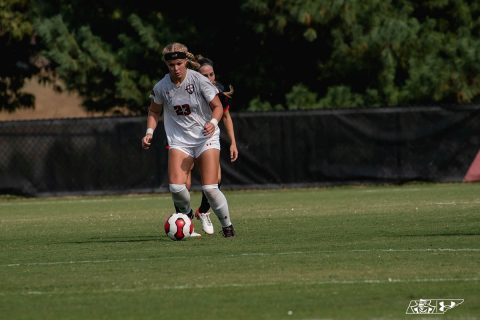 Austin Peay Women's Soccer senior Melody Fisher scores her first career goal in loss to Tennessee Tech, Sunday. (APSU Sports Information)