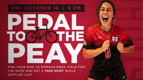 Austin Peay Soccer to give away free tshirts to those that ride a bike to Friday's game against Morehead State at Morgan Brothers Field. (APSU Sports Information)