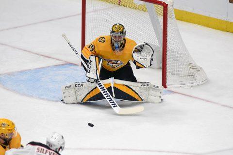 Nashville Predators goalie Pekka Rinne shutdown the Minnesota Wild Thursday night. (Mike Strasinger)