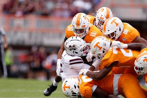 Tennessee Vols football holds the SEC leading rusher Kylin Hill to just 13 yards in the game, the fewest he has had since November 11th, 2017. (UT Athletics)