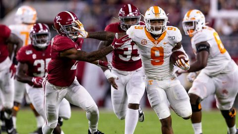 Tennessee Football running back Tim Jordan had 94 yards on 13 carries against Alabama, Saturday. (Andrew Ferguson, UT Athletics)