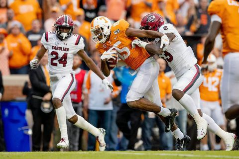 Tennessee Football receiver Jauan Jennings pulled in 78 catches for 174 yards and 2 touchdowns in Vols win over South Carolina, Saturday. (UT Athletics)