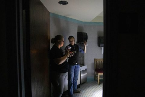 Ghost hunters explore Austin Pea State University's Harned Hall. (APSU)