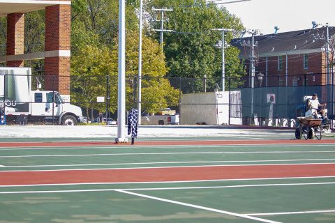 Four of the Austin Peay Outdoor Governors Tennis Courts are being resurfaced in a project that should last five weeks. (APSU Sports Information)