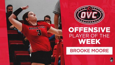 Austin Peay State University Volleyball junior Brooke Moore receives OVC Offensive Player of the Week. (APSU Sports Information)