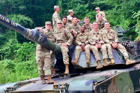 Austin Peay State University ROTC cadet Herman Thomas, sitting, third from right, attended West Point's Cadet Summer Training in June and July. (APSU)