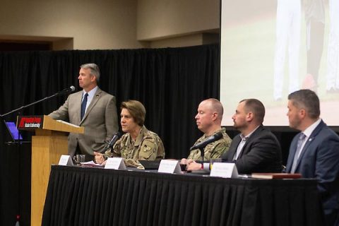 Retired Brig. Gen. Scott E. Brower, Austin Peay State University military advisor in residence, moderates a panel. (APSU)