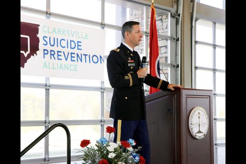 Col. Patrick T. Birchfield, commander, Blanchfield Army Community Hospital, was a keynote speaker at the Clarksville Suicide Prevention Alliance Summit, Oct. 1 in Clarksville, Tennessee. He praised the opportunity to bring together so many skilled resources in one place for the purpose of collaboration for this important subject. (U.S. Army photo by Maria Yager)