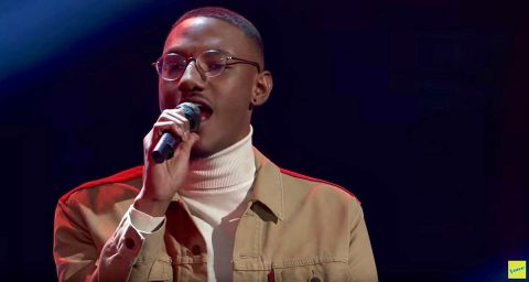 "This is a screen capture from YouTube video of Calvin E. Lockett performing on ""The Voice."""