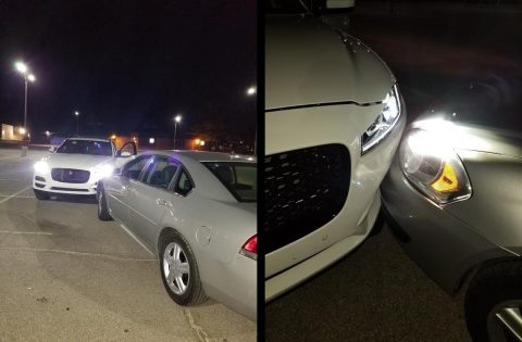 The stolen 2019 Jaguar rolled into a Clarksville Police car when the juveniles jumped out of the car to flee the area.