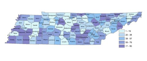 Tennessee map with Tennessee county child well-being ranks shown by quintile.