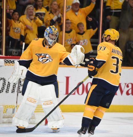 Nashville Predators Goalie Pekka Rinne and Viktor Arvidsson (Mike Strasinger)