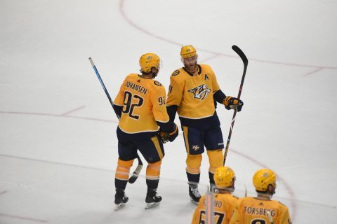 Nashville Predators Ryan Johansen and Mattias Ekholm