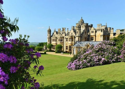 This is Harlaxton Manor, a house surrounded by lush gardens and green lawns so wide that the Royal Air Force landed bombers on the property during World War II. (APSU)
