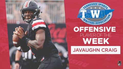 Austin Peay Football's JaVaughn Craig named Tennessee Sports Writers Association Offensive Player of the Week. (APSU Sports Information)