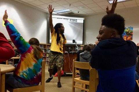 Bomani Armah gets Kenwood Middle School students to engage in the writing process. (APSU)