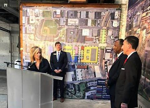 Marsha Blackburn, Ben Carson, David Kustoff and Brian Kelsey toured the Union Row development in Memphis.