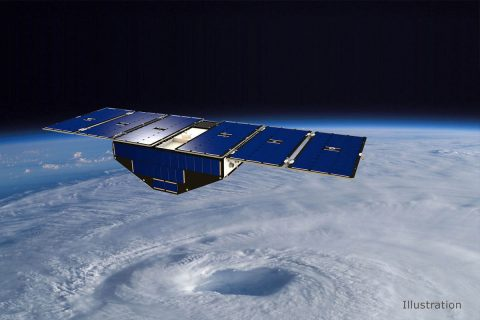Illustration of one of the eight CYGNSS satellites in orbit above a hurricane. (NASA)