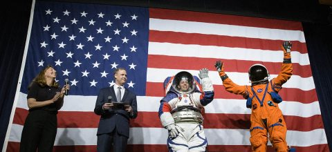 NASA reveals New Spacesuits for Astronauts. The new Exploration Extravehicular Mobility Unit (xEMU) left for outside the spacecraft and the Orion Crew Survival System suit, right, to be worn while inside the spacecraft. (NASA, Joel Kowsky)