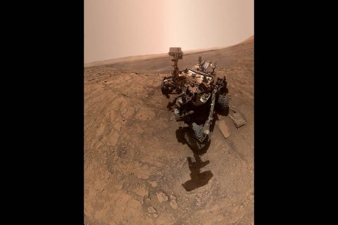 "NASA's Curiosity rover took this selfie on Oct. 11, 2019, the 2,553rd Martian day, or sol, of its mission. The rover drilled twice in this location, which is nicknamed ""Glen Etive. (NASA/JPL-Caltech/MSSS)"