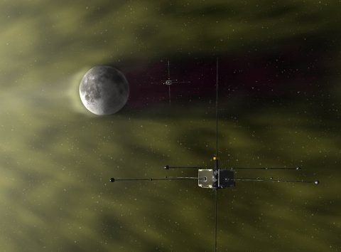 NASA's twin ARTEMIS spacecraft have studied the solar wind's interaction with the Moon, including the lunar wake that distorts nearby magnetic fields. (E. Masongsong, UCLA EPSS)