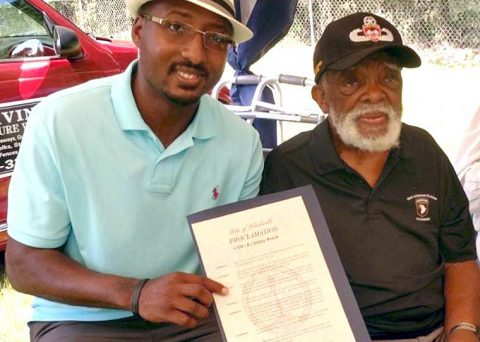"CSM (Ret.) Sidney R. Brown, right, received a proclamation from Councilman Richard Garrett at an event earlier this year. The City of Clarksville has renamed Birchwood Park as ""CSM Sidney R. Brown Park at Birchwood"" in honor of the U.S. Army veteran and community leader."