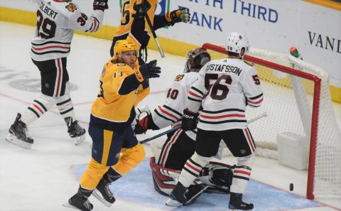 Nick Bonino scores a natural hat-trick against the Chicago Blackhawks for the 3-0 win in Nashville.  (Michael Strasinger)