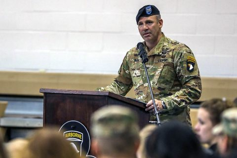 Col. Robert G. Born, Commander, 1st Brigade Combat Team, 101st Airborne Division (Air Assault), addresses members of 1st BCT and guests in his first official speech as commanding officer during a change of command ceremony Nov. 22 in Sabo Physical Fitness Center on Fort Campbell, KY. Born replaced Col. Derek K. Thomson as the commanding officer of 1st BCT. (Maj. Vonnie Wright, 1st Brigade Combat Team, 101st Airborne Division (AA) Public)