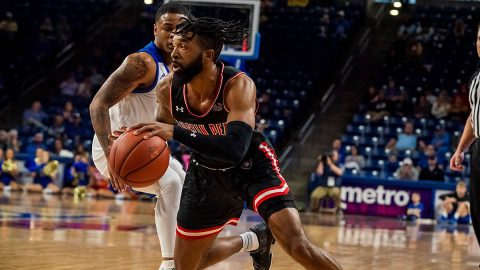 Austin Peay State University Men's Basketball lead at half, but fall late to Tulsa Sunday night. (APSU Sports Information)
