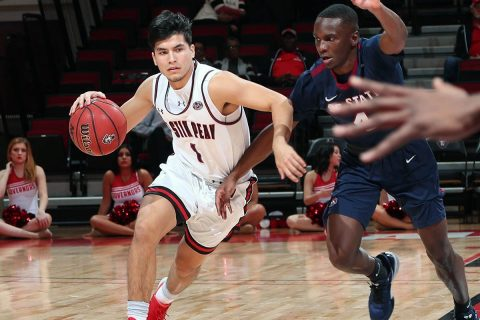 Austin Peay State University Men's Basketball jumps out early and never looks back in 92-66 win over South Carolina State at the Dunn Center, Monday night. (APSU Sports Information)