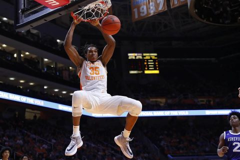 Tennessee Men's Basketball junior Yves Pons posts a career-high 15 points while Jalen Johnson records a career-high eight points and six rebounds. (UT Athletics)