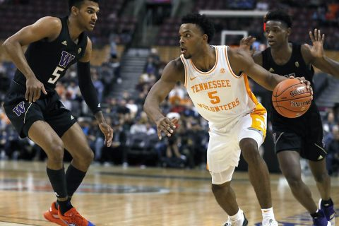 Tennessee Men's Basketball freshman Josiah-Jordan James had 9 points and 4 rebounds in win over Washington. (UT Athletics)
