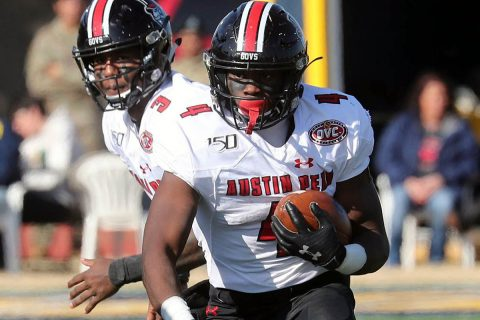 Austin Peay State University Football running back Prince Momodu had 93 rushing yards and 2 touchdowns in win over Murray State, Saturday. (APSU Sports Information)