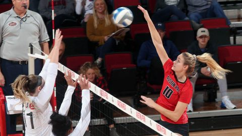 Austin Peay State University Volleyball outside hitter Jenna Panning has career best 21 kills in Govs win over SIU Edwardsville at the Dunn Center, Saturday. (APSU Sports Information)