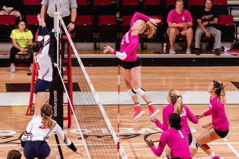 Austin Peay State University Women's Volleyball freshman Tegan Seyring has career-best outing in five-set victory over UT Martin, Friday night. (APSU Sports Information)