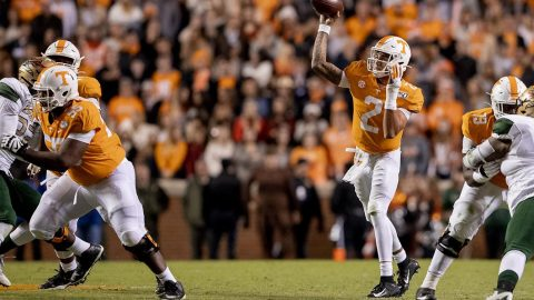 Tennessee Football quarterback Jarrett Guarantano threw for 147 yards and a touchdown in Saturday nights win over UAB at Neyland Stadium. (UT Athletics)