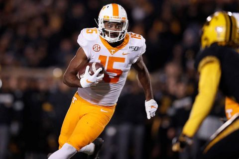 Tennessee Vols Football senior receiver Jauan Jennings had 5 catches for 115 yards and a touchdown against Missouri Saturday night. (UT Athletics)