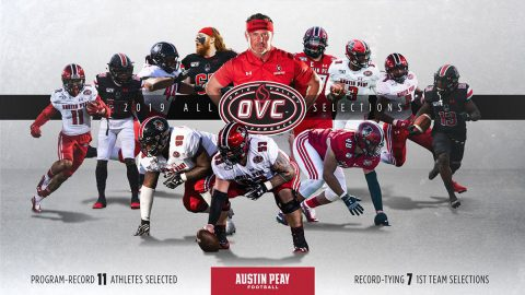 Austin Peay State University Football coach Mark Hudspeth named OVC Coach of the Year, 11 players earn OVC Honors. (APSU Sports Information)