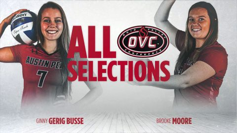 Austin Peay State University Volleyball's Ginny Gerig Busse and Brooke Moore receive award, honors at OVC Tournament banquet. (APSU Sports Information)