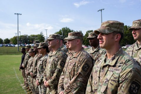 """""""I feel like I'm going to be that leader that likes to be with the soldiers, mentoring, answering any questions,"""" Taylor, at left, said. (APSU)"""