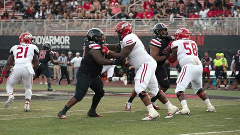 Austin Peay State University Football's Josephus Smith effort during the Governors win over UT Martin earns Smith the  OVC Defensive Player of the Week honor. (APSU Sports Information)