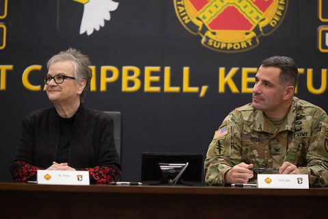 Austin Peay State University President Alisa White and Col. Jeremy Bell, Fort Campbell garrison commander. (APSU)
