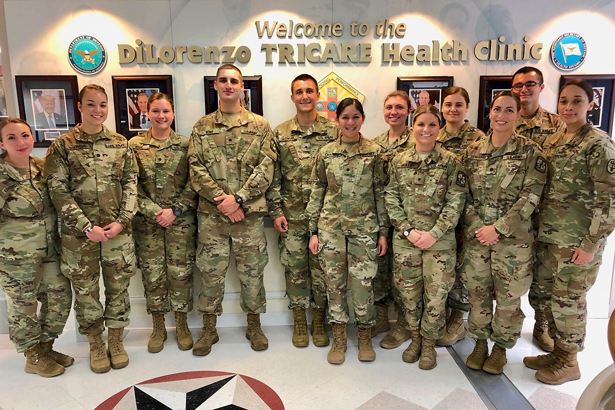 Austin Peay State University nursing senior Michelle Demarais, third from right, poses with fellow students at Walter Reed. (APSU)