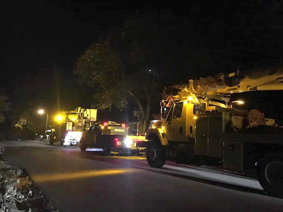 CDE Lightband and Elliot crews on Hillsboro & Peachers Mill road last night.