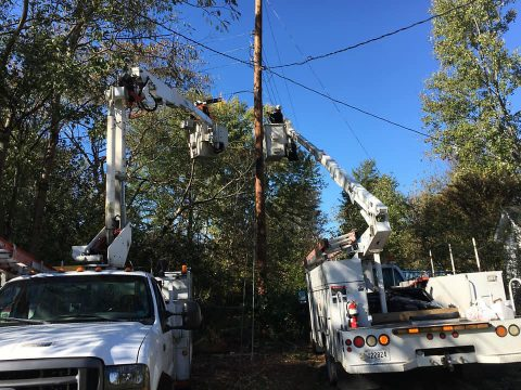 Crews continue working to restore power and broadband services to customers.