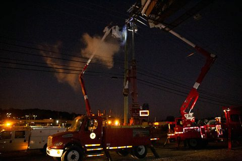 Crews working through the night restoring power.